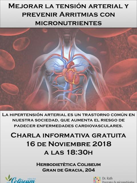 APLAZADA AL 30 NOVIEMBRE!!! Mejorar tensión arterial y prevenir arritmias con micronutrientes