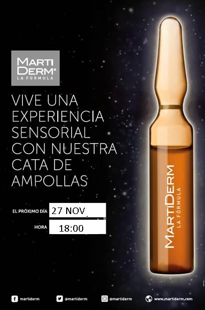 ANULADO!!!! Taller cosmética gratuito: Cata facial de ampollas Martiderm