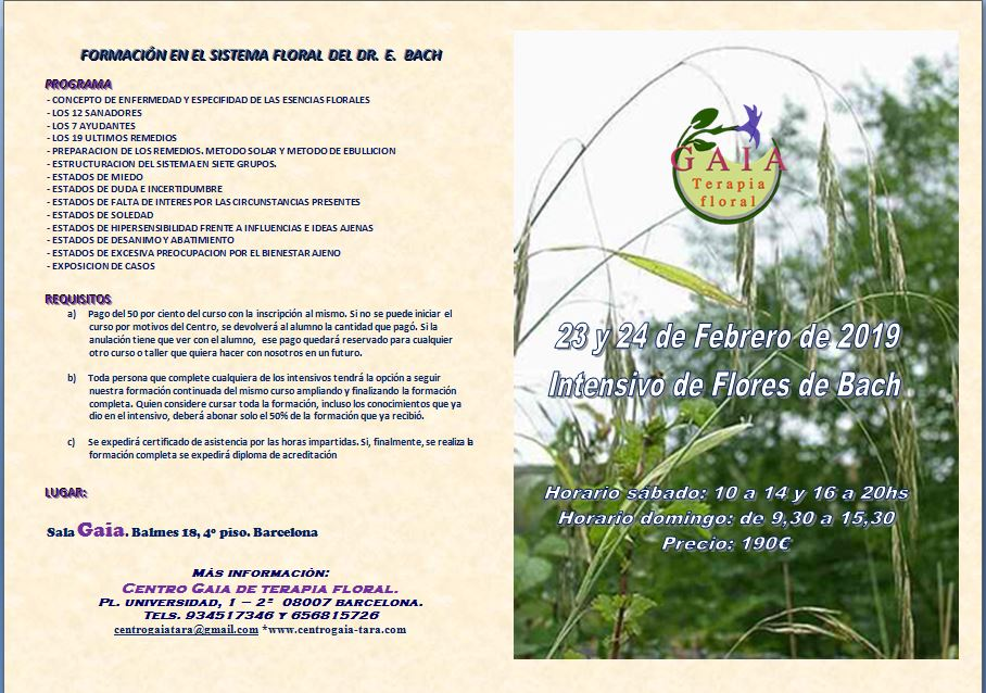 Formación en el sistema del Dr. Bach. Intensivo de Flores de Bach
