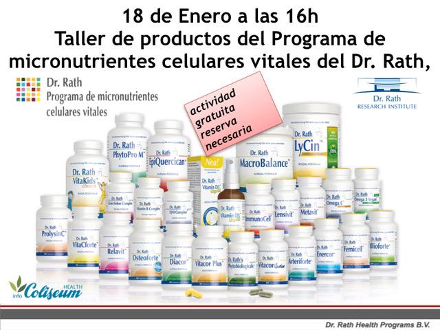 Taller de productos del programa de micronutrientes celulares vitales del Dr. Rath