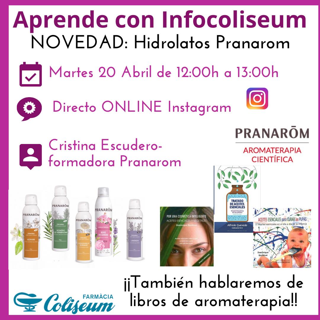 Directo instagram: Hidrolatos Pranarom y libros aromaterapia