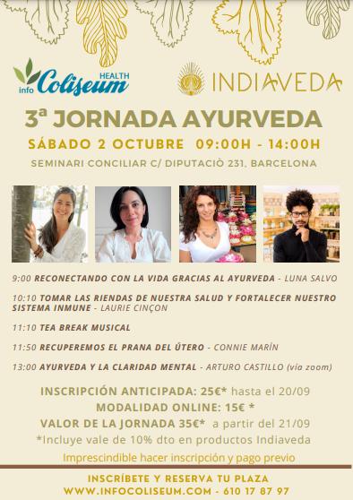 3ª Jornada Ayurveda Indiaveda: Luna Salvo, Laurie Cinçon, Connie Marín, Arturo Castillo. Presencial / Online